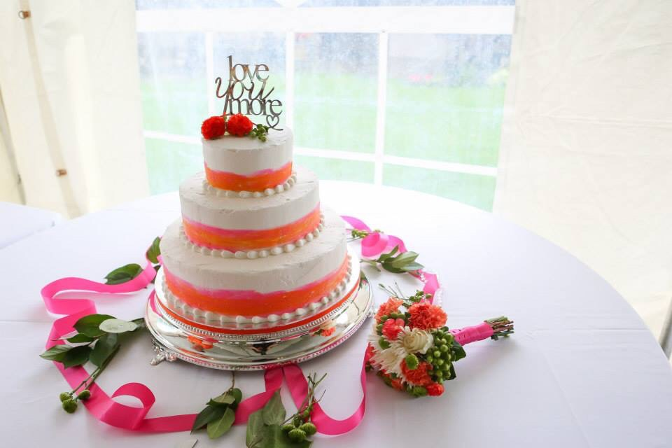 Orange and Pink Watercolor Wedding Cake