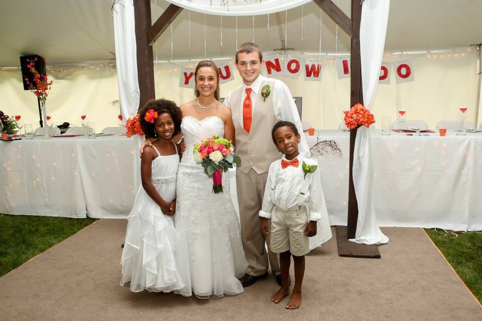 Bride and Groom, Flower Girl and Ring Bearer