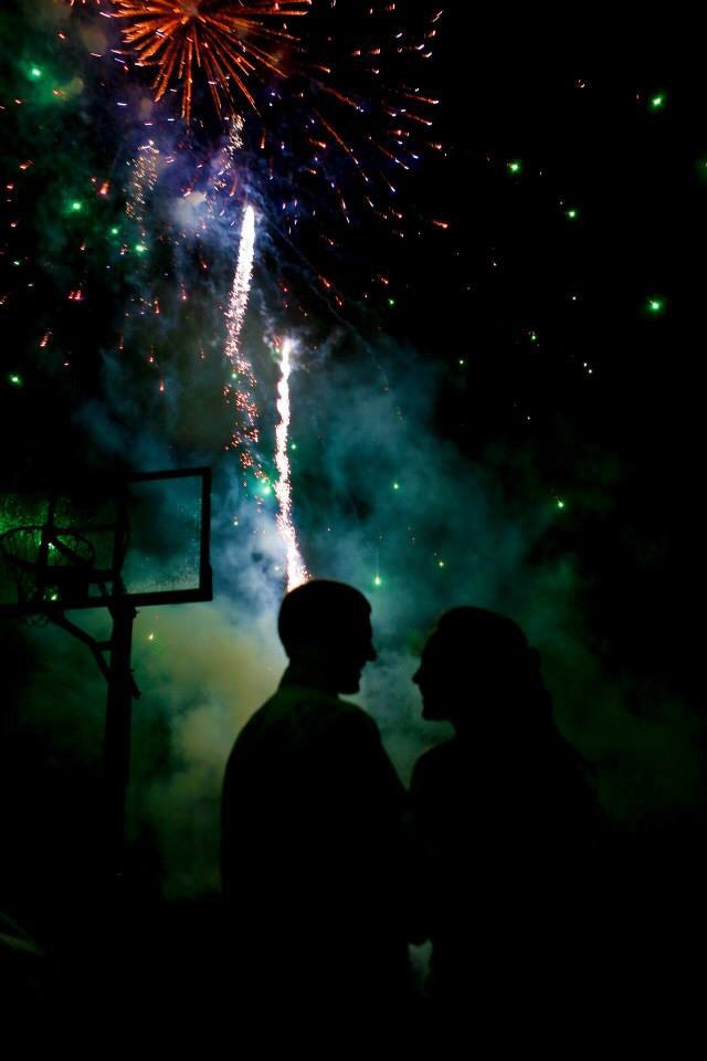 Fireworks at a wedding